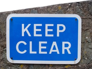 Keep clear sign with clipping path