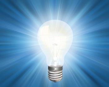 Illustration of an illuminated light bulb